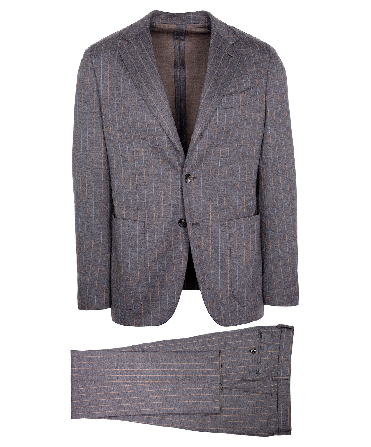 Grey/Tobacco Wide Pinstripe Suit