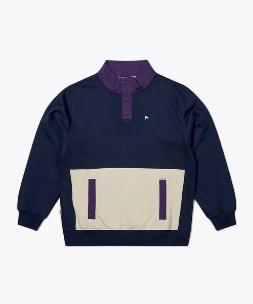 Harro Navy/Sand Mock Neck Sweatshirt