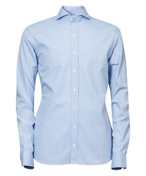 Herman Dove Blue Tonal Micro Print Dress Shirt