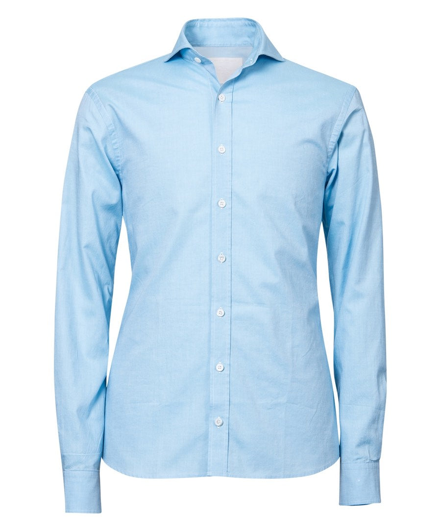 Herman Sky Blue Hi-Colored Solid Broadcloth Dress Shirt
