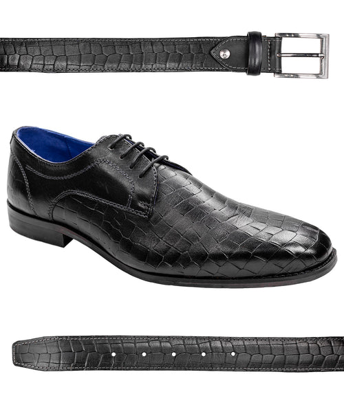 Black Crocodile Print Dress Shoe w/ Matching Belt