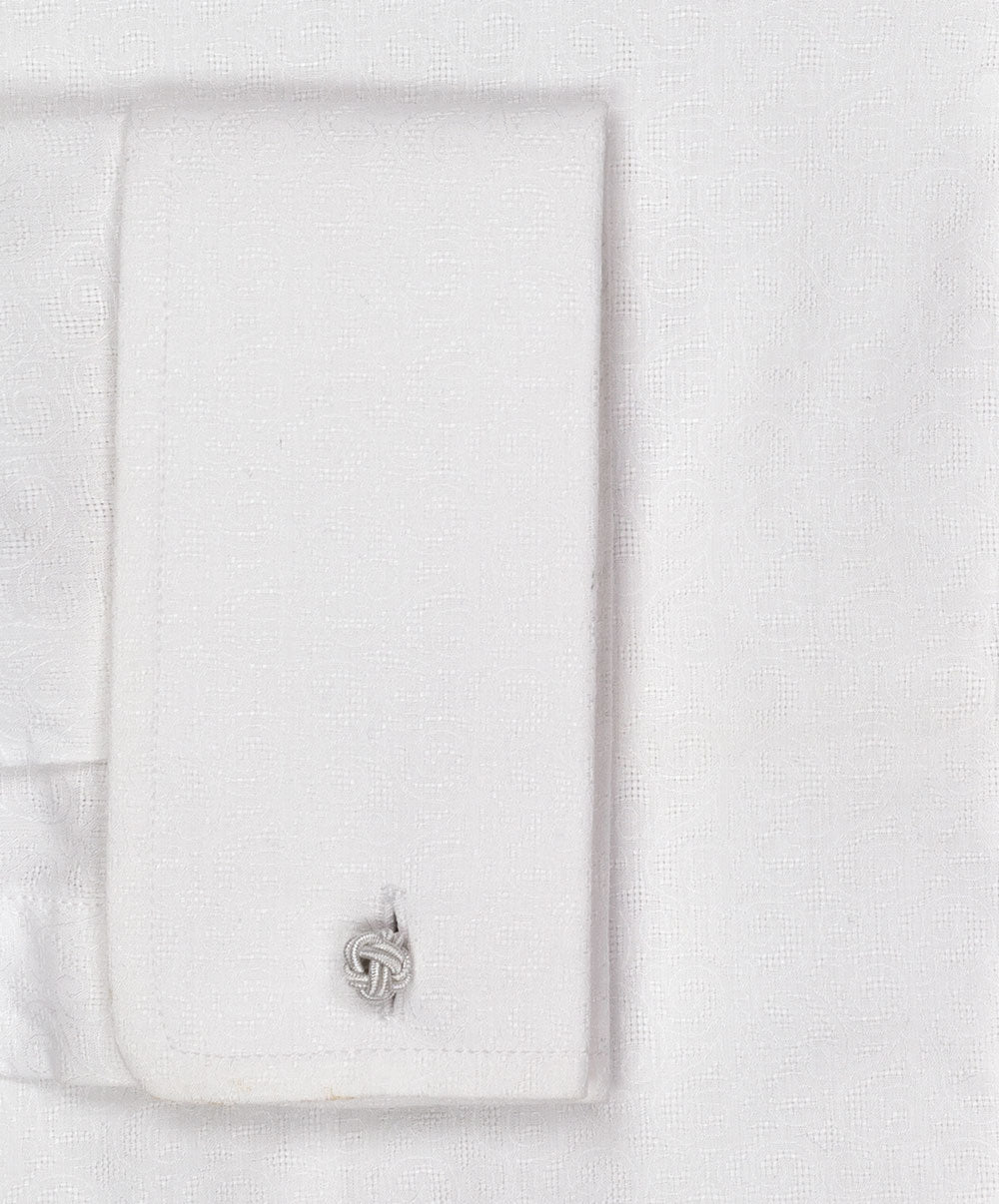 Iver White Solid Band Collar Dress Shirt