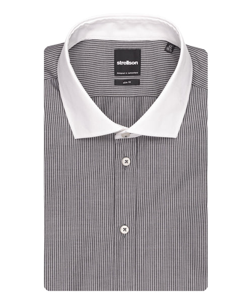 Jamie Dusty Grey/White Thin Stripe Dress Shirt
