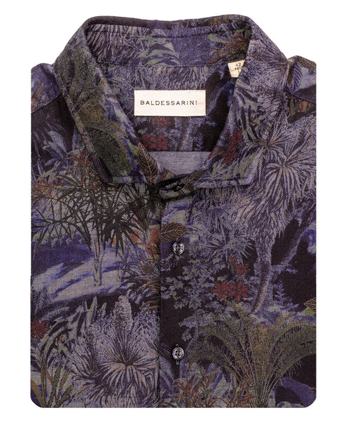Kieth Black/Grey/Cognac Dark Ground Floral Print Jersey Shirt