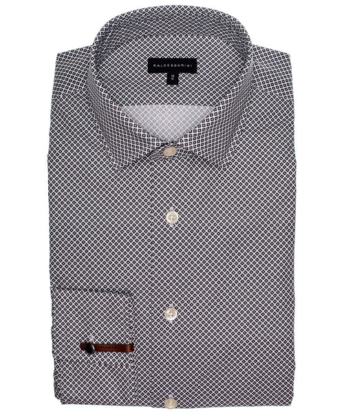 Kurt Winter White/Navy Circular Print Dress Shirt