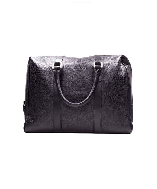 Black Textured Leather Laptop Bag