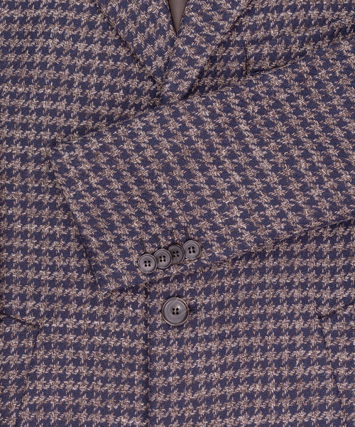 Mellow Navy/Cognac Woven Houndstooth Coat
