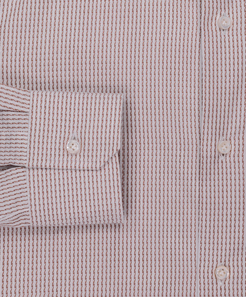 Eggshell/Café Zig Zag Striped Dress Shirt