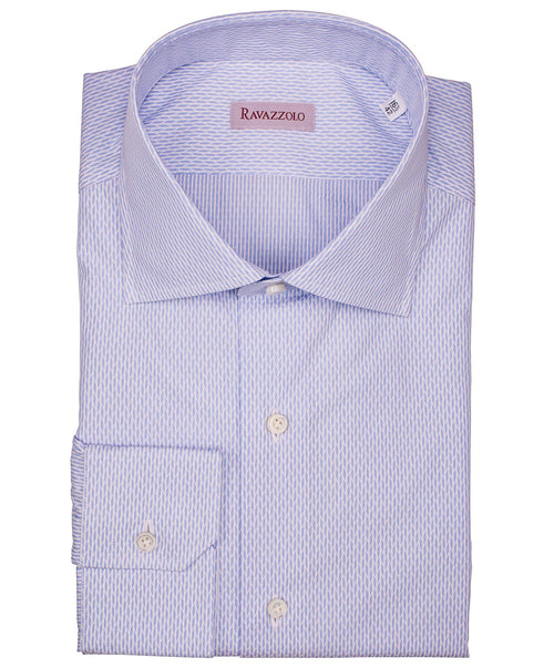 Milano Sky Blue/White Broken Chevron Woven Dress Shirt