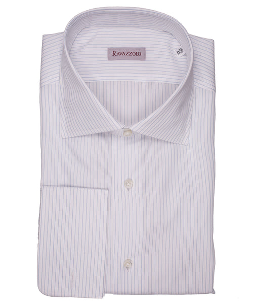 Milano White/Cobalt Fine Stripe Dress Shirt