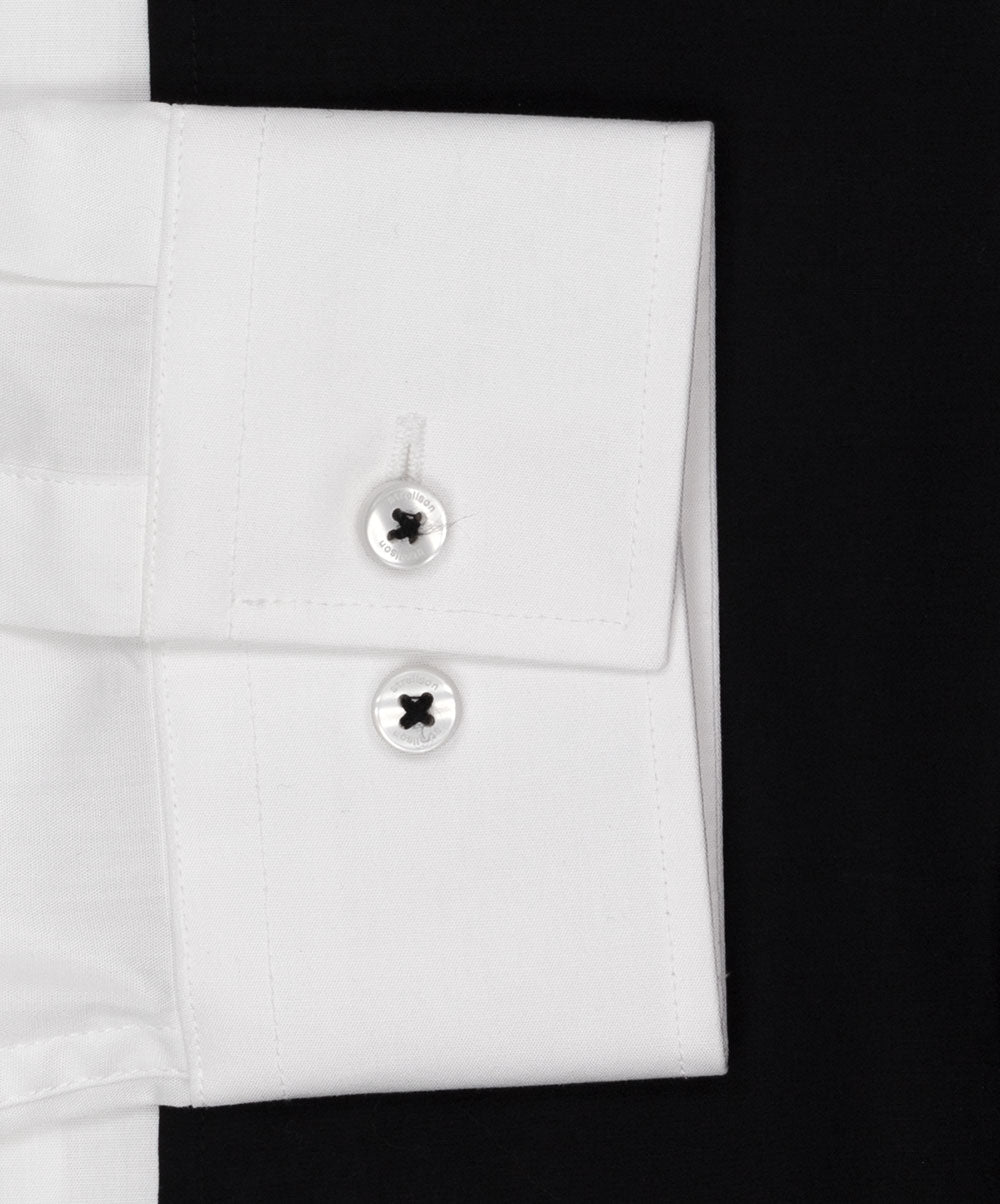 Nick White w Solid Black Seamed Front Dress Shirt