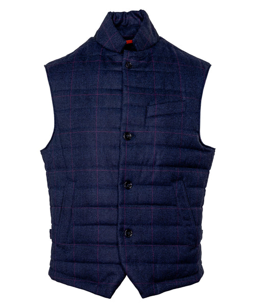 OGVEST23 -VF20G3 Navy/Violet Window Pane Pattern Button Up Vest w Walking Pocket