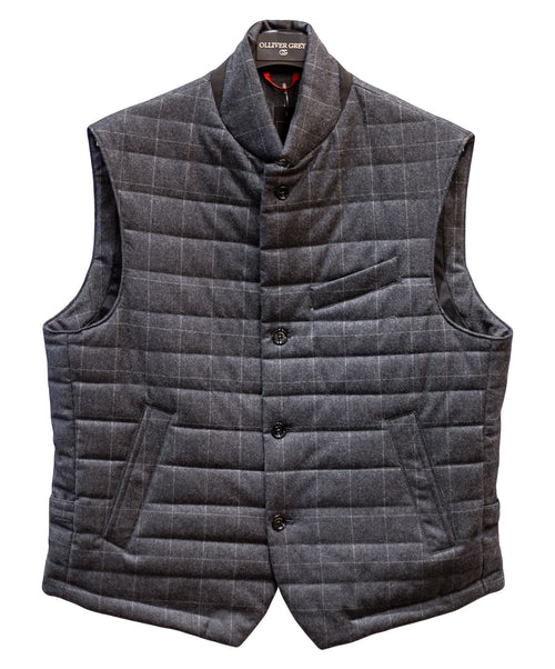 T23 -VF20G2 CharcoalWhite Window Pane Button Up Vest w Walking Pocket