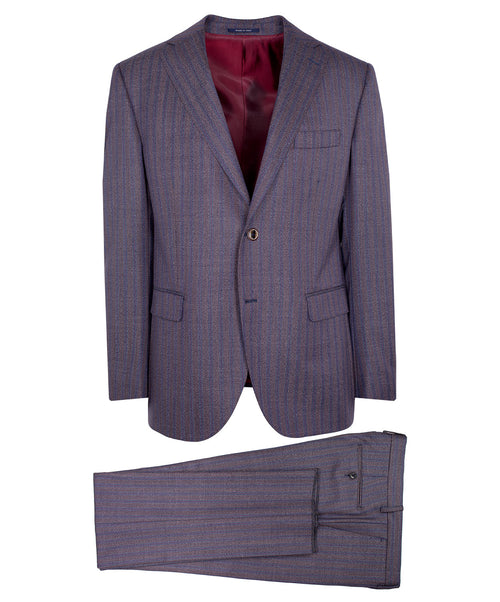 Owen Blue/Mauve Mouline Blended Stripe Suit