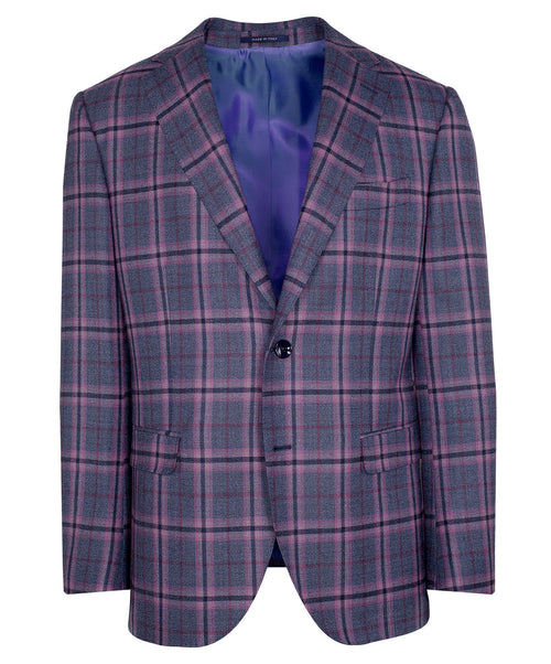 Owen Mauve/Blue/Navy Sophisticated Blended Check Jacket