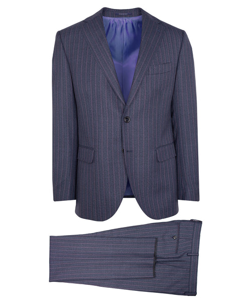 Owen Blue/Mauve Mouline Varied Striped Suit