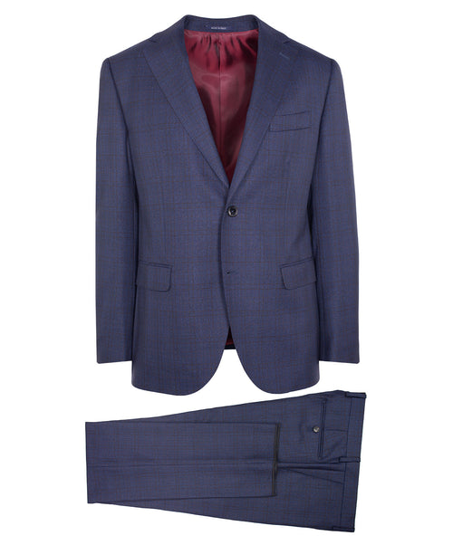 Owen Indigo Blue/Bordeaux Tonal Check Suit