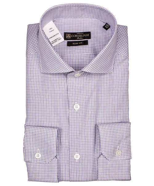 Sky Blue/Grey Mini Woven Peptia Check Dress Shirt