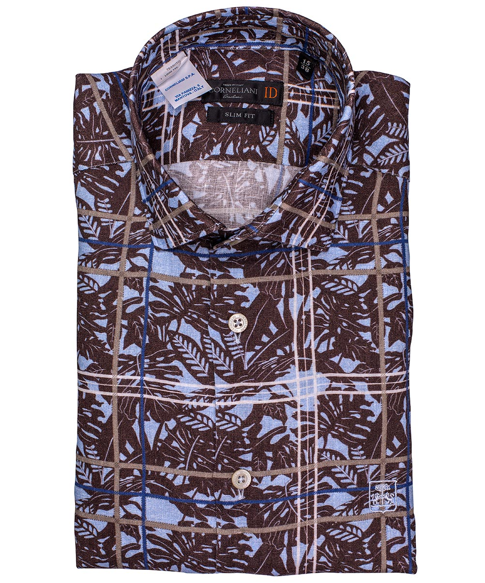 Cocoa/Sky Blue/Stone Window Pane on Leaf Pattern Sport Shirt