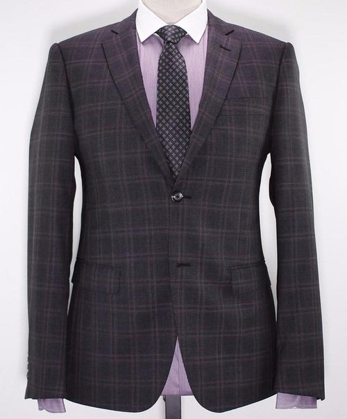 Charcoal/Dark Burgundy Dual Window Pane Pattern Suit