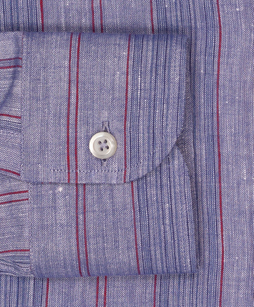 Mid Blue/Red/Royal Blue Varied Stripe Linen Blend Shirt