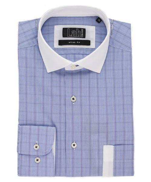 Baby Blue Check Pattern Dress Shirt