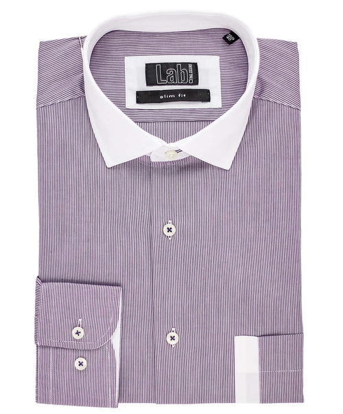 Wine Pinstripe Pattern Dress Shirt