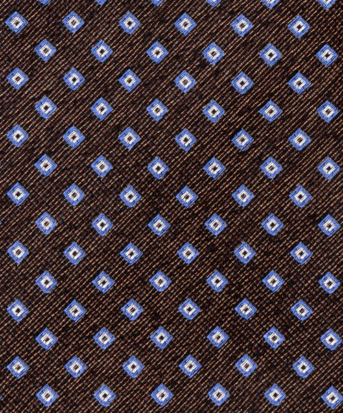 6189 - 2 Brown/Blue 8 cm Tie Small within Square Allover Pattern