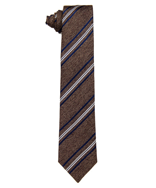 7731-3 Brown/Navy/White Strip 8cm Tie