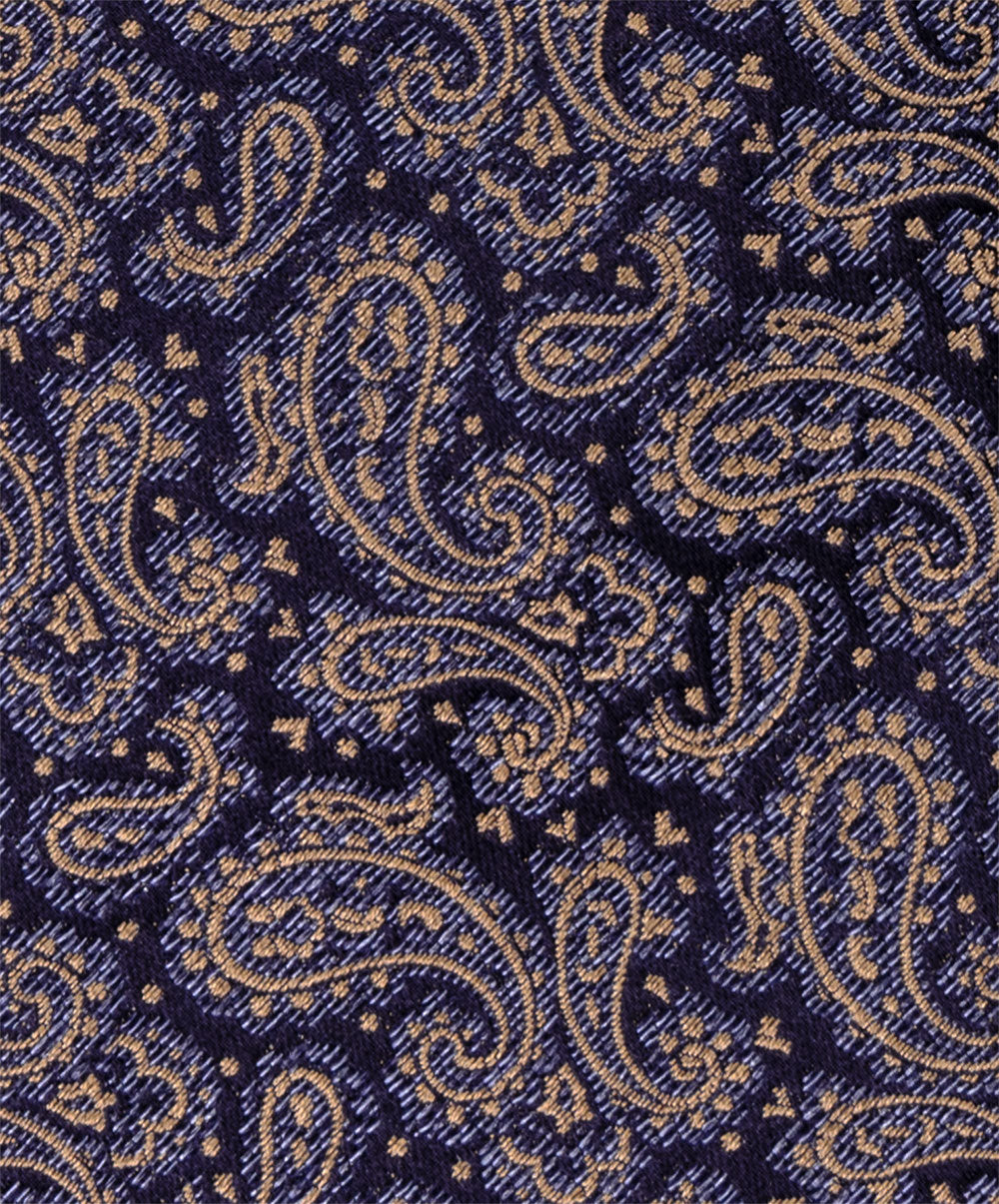 6824 1 Navy/Gold Paisley 8cm