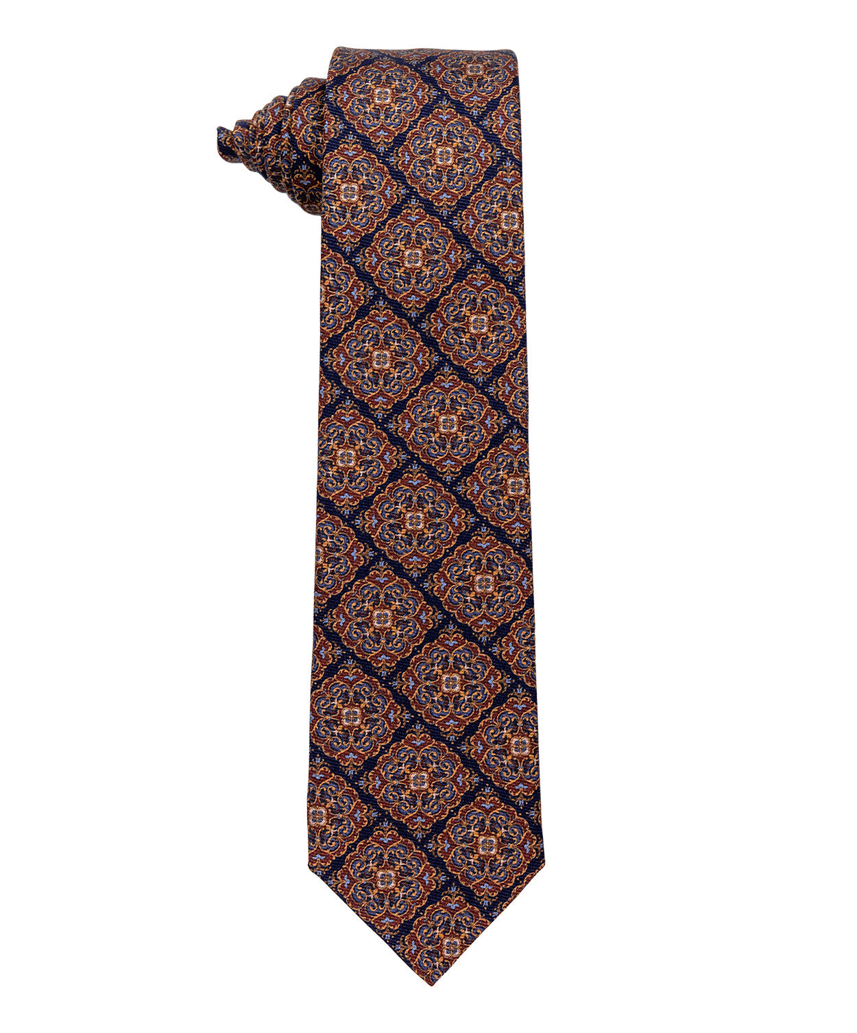 3830-1 Navy/Brown Medallion Tie 8cm