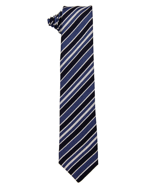 7710 1 Navy/blue/White Diagonal Striped  8cm Tie