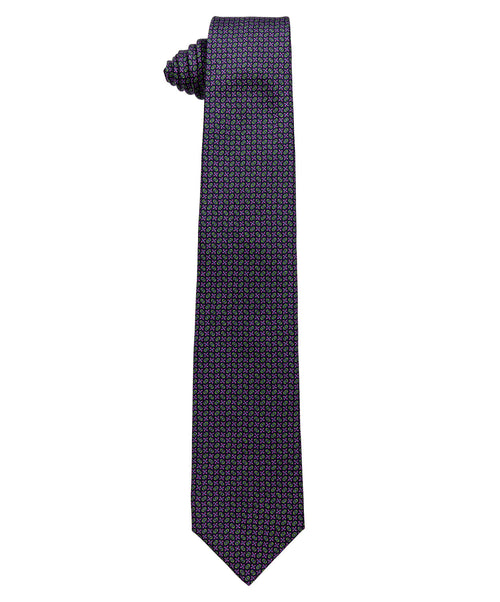 3824 3 Purple/Navy/Green Neat Pattern 8cm Tie