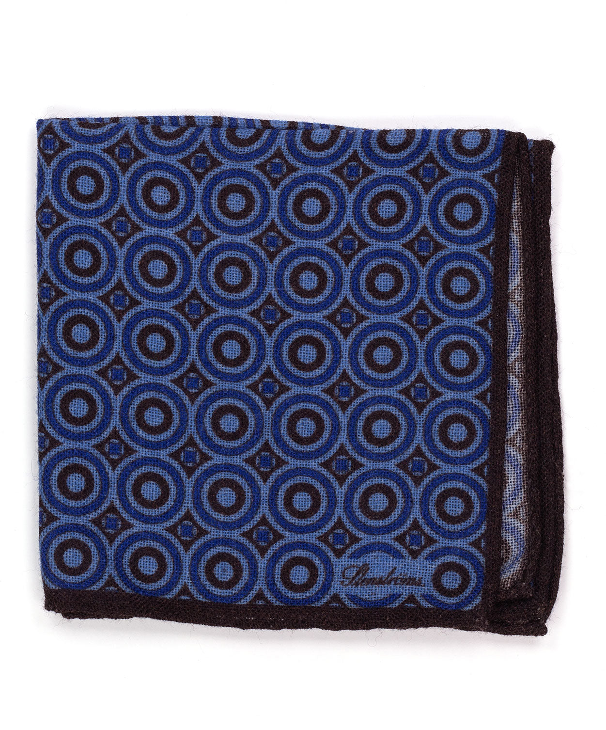 Cocoa/Blue/Powder Blue Circle in Circle Pocket Square