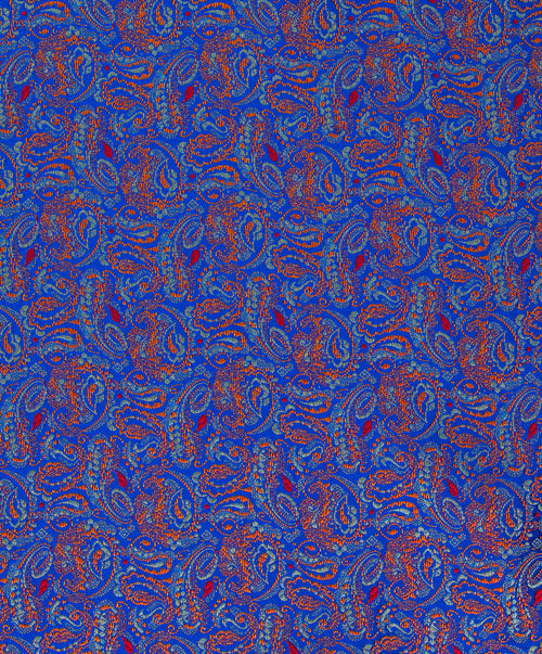 Cognac/Cobalt Blue/Sky Blue/Red Woven Paisley Pocket Square