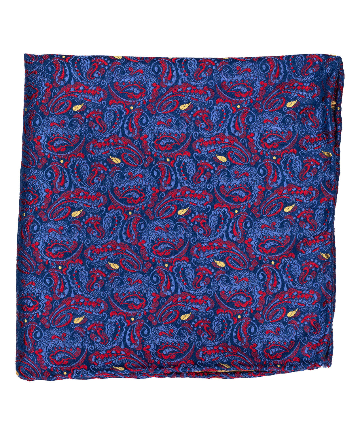 Red/Wine/Royal Blue/Sky Blue Woven Paisley Pocket Square