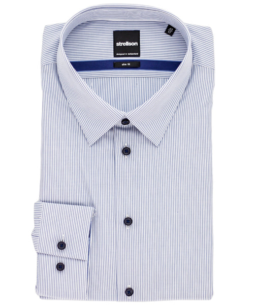 Quentin White/Royal Bengal Stripe Dress Shirt