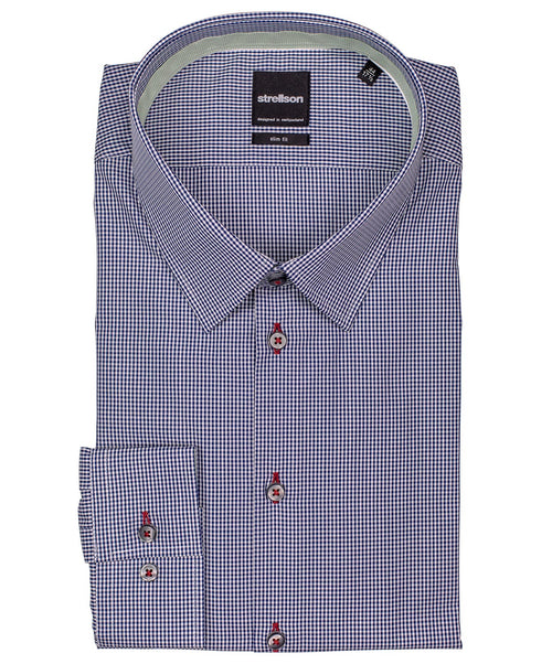 Quentin Navy/Apple Green Colored Ground Micro Check Dress Shirt
