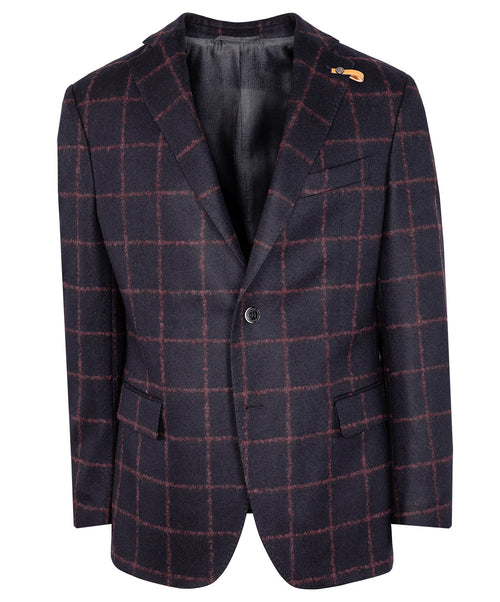 Renon Black/Burgundy Window Pane Sport Jacket