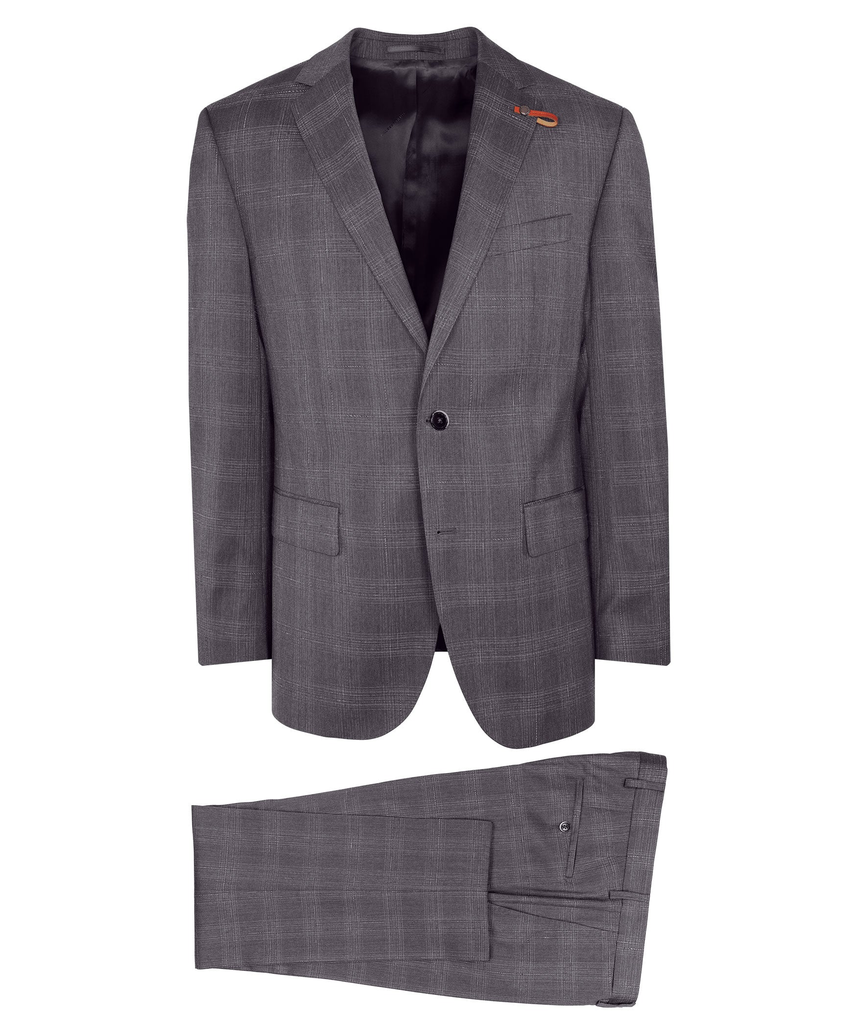 Rown Slate Grey Light Sketched Check Suit