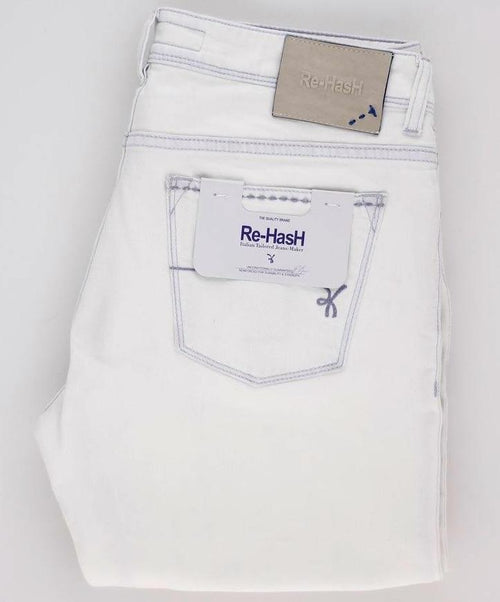 Bleach White Five Pocket Contrast Stitching Denim