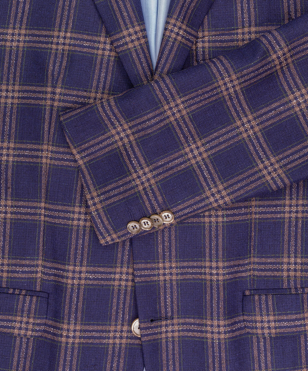 Navy/Cognac/Green Sophisticated Bold Check Sport Jacket