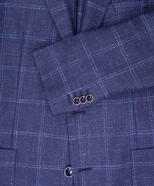 Navy/Cobalt Blue Window Pane Sport Jacket