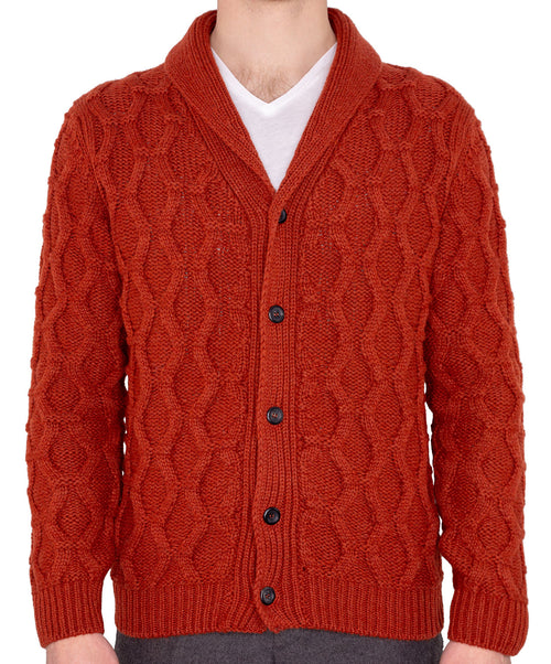 Sail Rust Orange Cable Knit Shawl Collar Knitwear