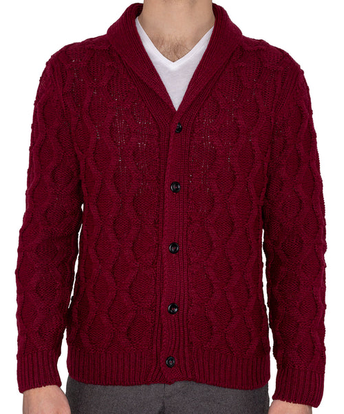 Sail Bordeaux Cable Knit Shawl Collar Knitwear