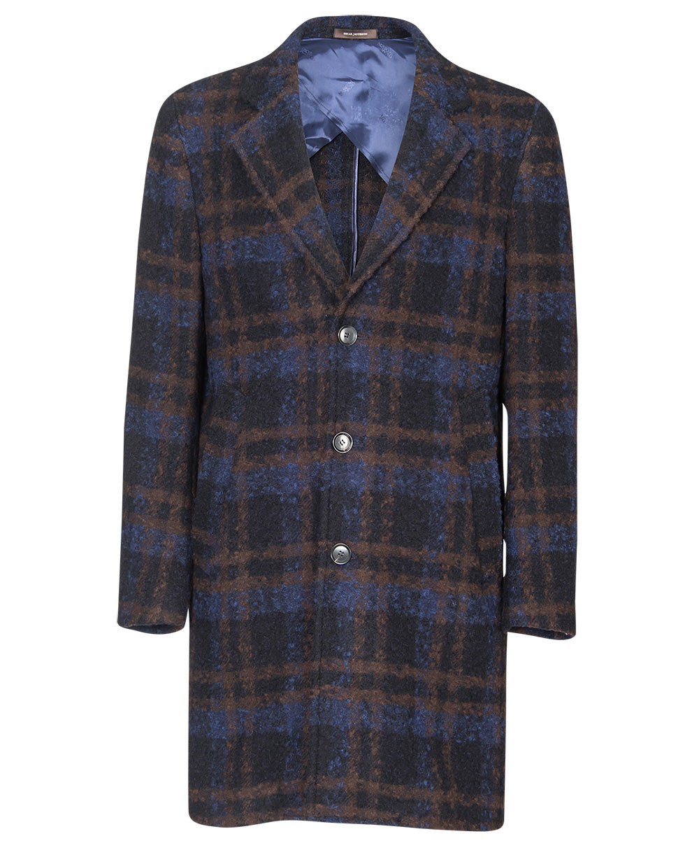 Scala Brown/Blue Sophisticated Plaid Top Coat