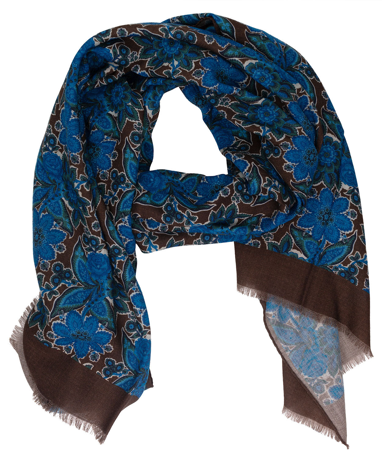 Brown/Aqua Blue Large Leaf & Paisely Scarf