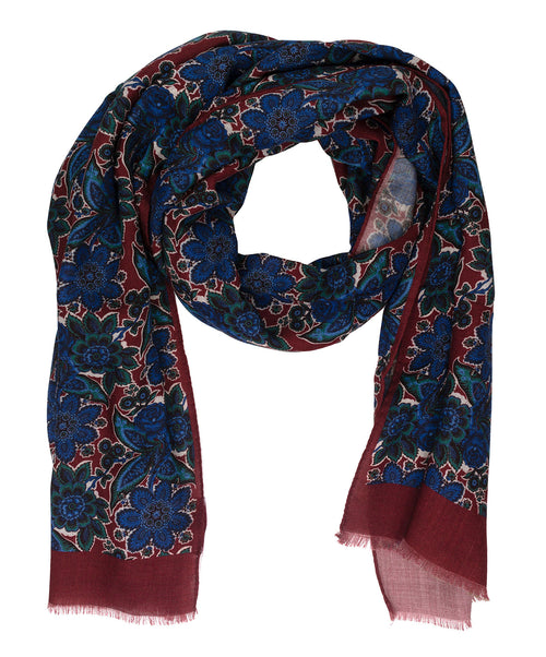 Indigo/Rust/Oak Large Leaf & Paisely Scarf