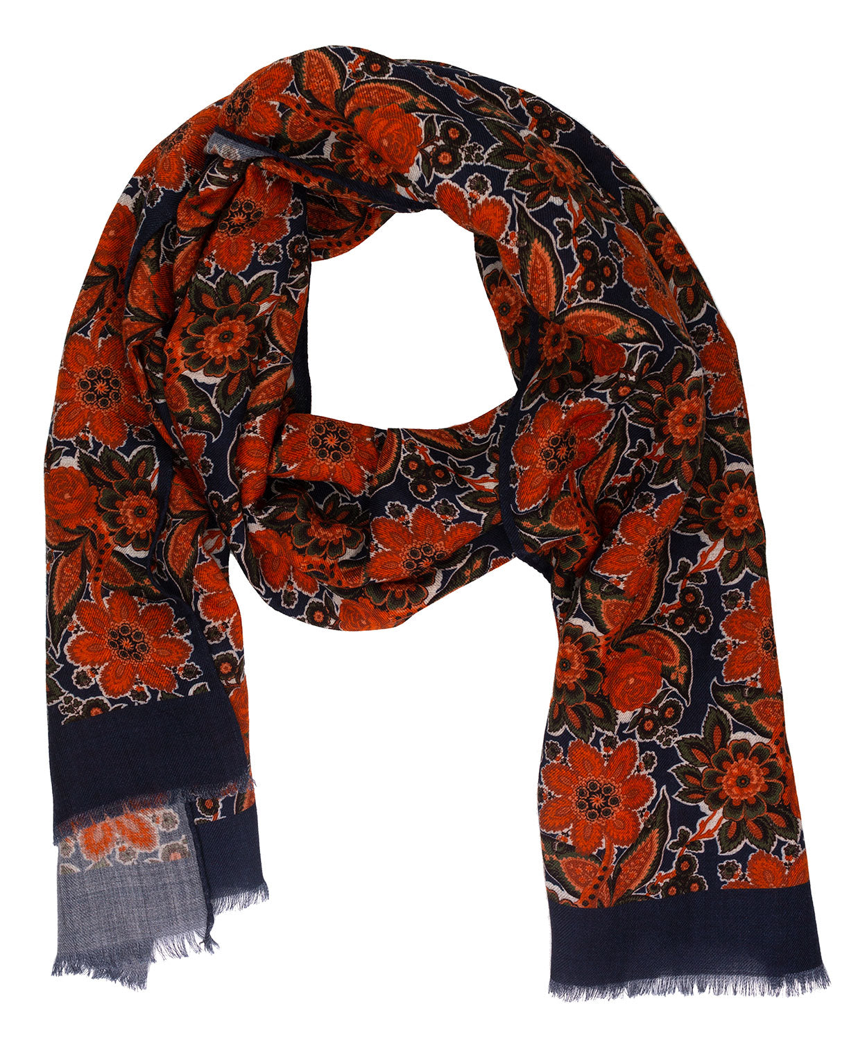 Terracotta/Blue/Sea Spray Large Leaf & Paisely Scarf