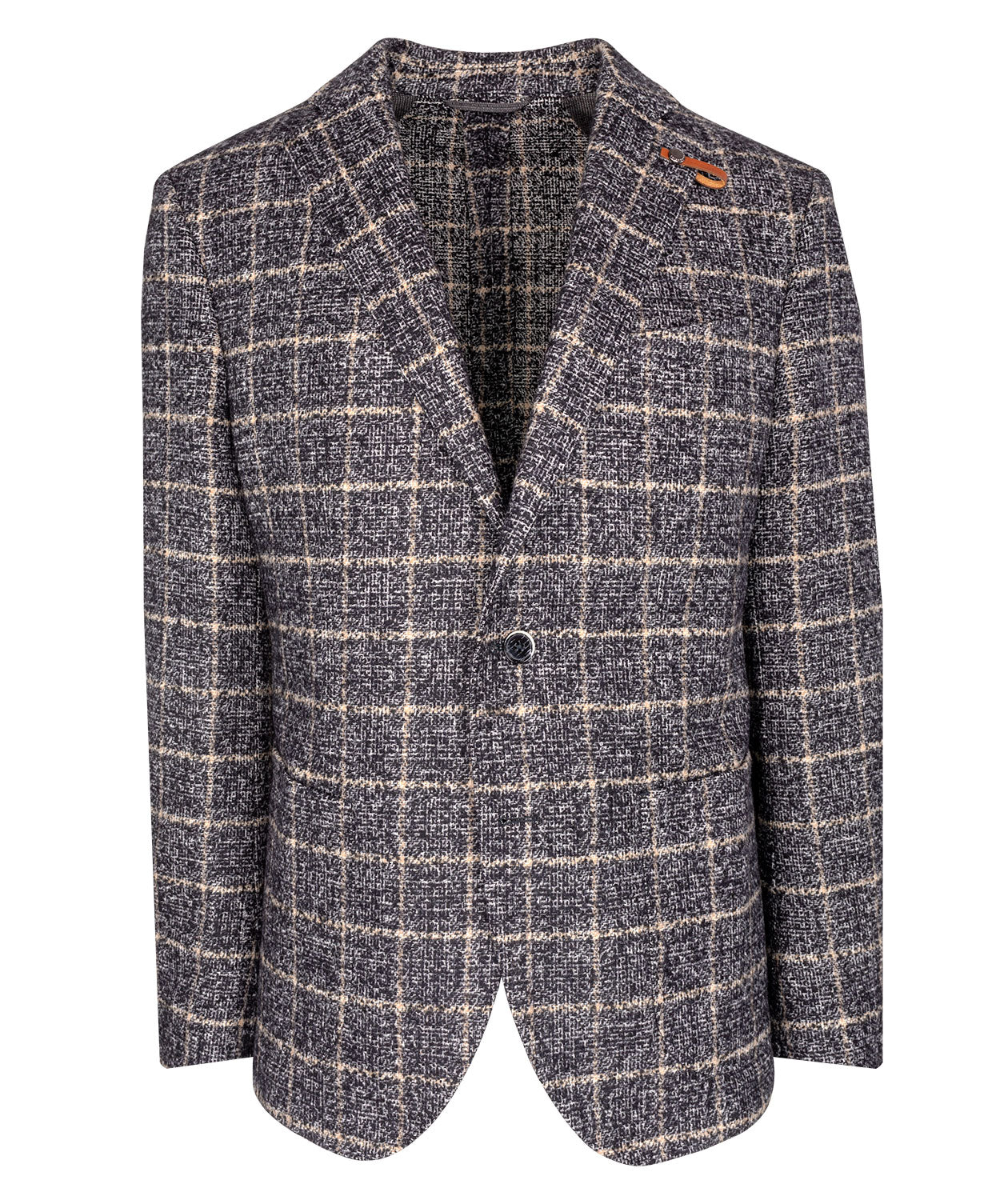 Seba Black/Camel Lofty Windowpane on Melange Check Jacket